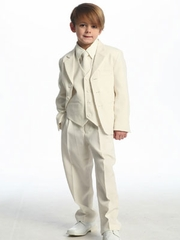 Ivory  Solid Single Breasted  Boy's Suit