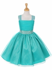 Jade Studded Graduation Dress with Rainbow Rhinestones