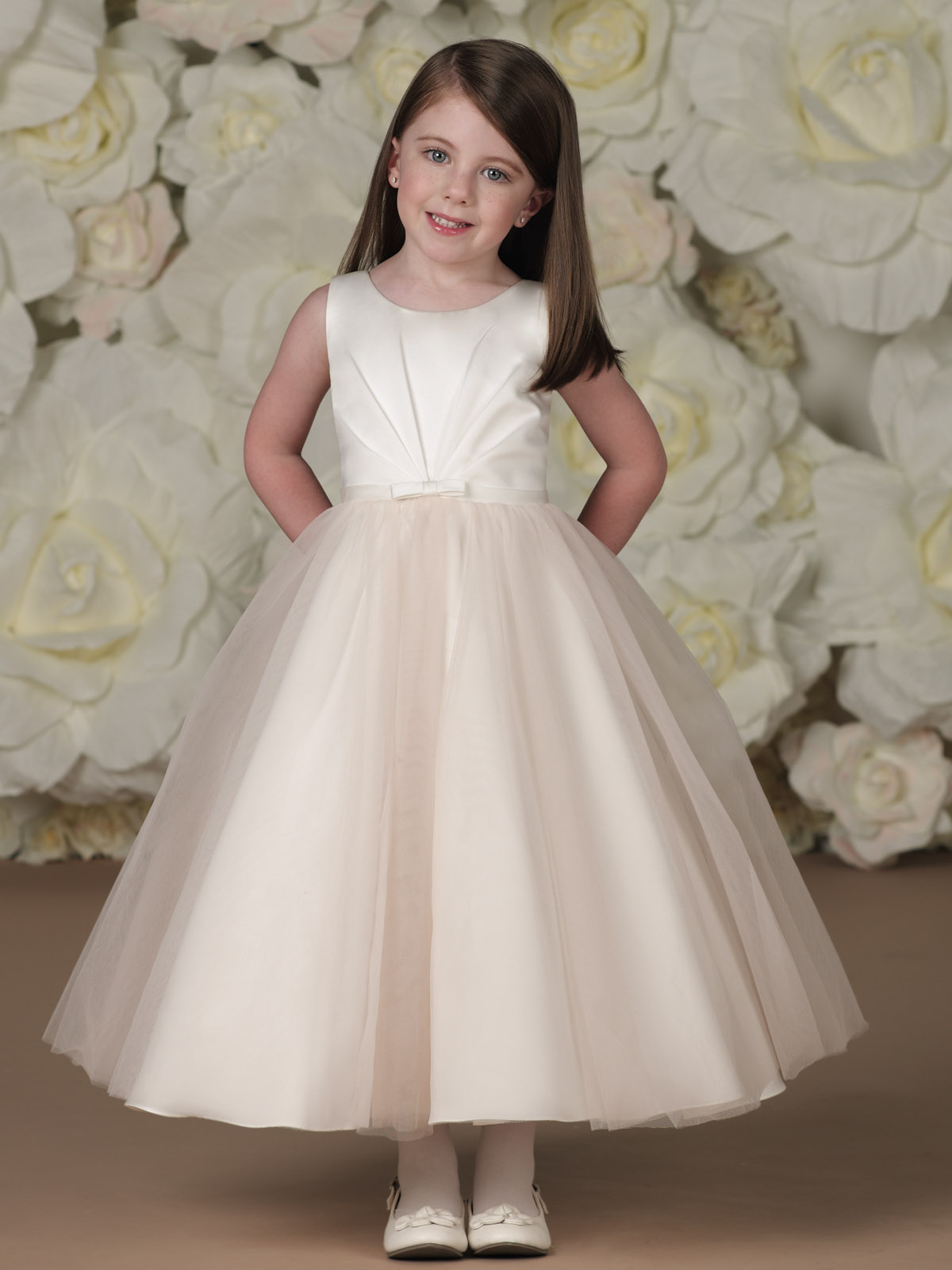 Joan Calabrese Sleeveless Satin and Tulle Tea-length Flower Girl ...