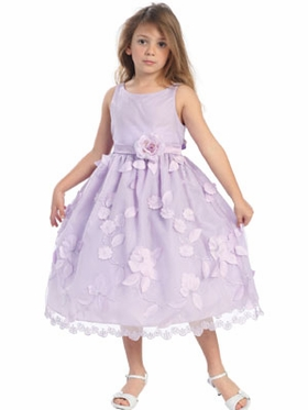Lilac Floral Skirt Flower Girl Dress