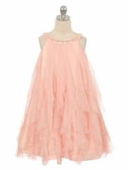 Lovely Mesh Ruffle Dress with Pearl Beading