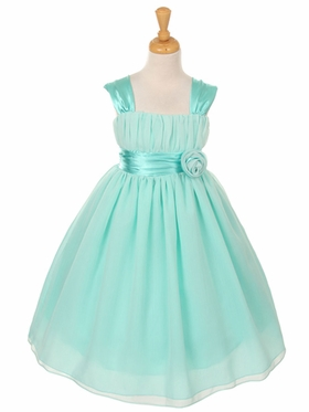 Mint Chiffon Flower Girl Dress with Gathered Top