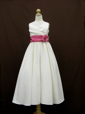Modish V-Neck Gathered Bodice Flowergirl Dress