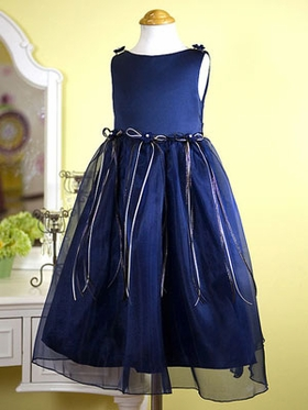 Navy Organza Flower Girl Dress