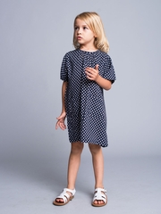 Navy Printed Dress with Two Front Pockets