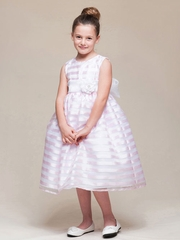 Organza Striped Flower Girl Dress