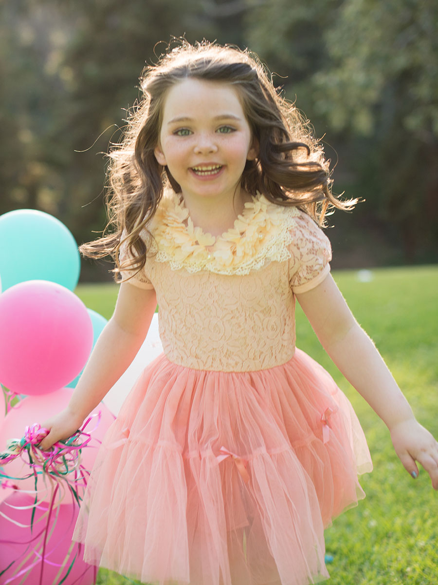Peach Lace Dress for Girl - Trendy Casual