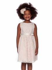 Peach Small Flower Embroidery Flower Girl Dress