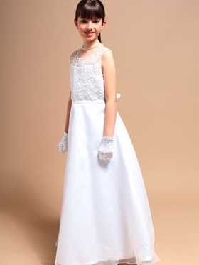 Pearl Beaded A-Line Communion Dress