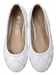 Plain White Quilted Flower Girl Shoes