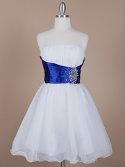 Pleated Bodice with Tulle Shirt Short Bridesmaid Dress