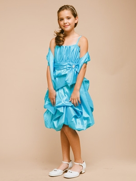 Pretty Bubble Taffeta Girl Dress with Accented Bow