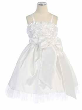 Rose Bodice Taffeta Flower Girl Dress