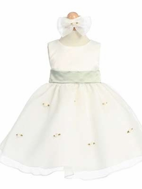 Sage Small Flowers Skirt Infant Dress