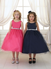 Satin and Tulle Dress with Rhinestone Gem Accent