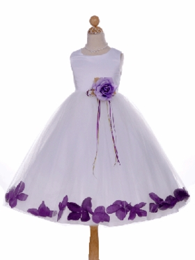 Satin and Tulle Floral Accent Flower Girl Dress
