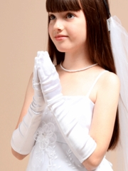 Satin Long Gloves for Communion