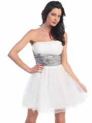 Satin Waist with Jewel Accent Short Party Dress