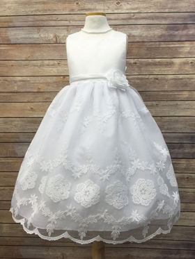 Satin With Organza Embroidered Skirt & Matching Flower