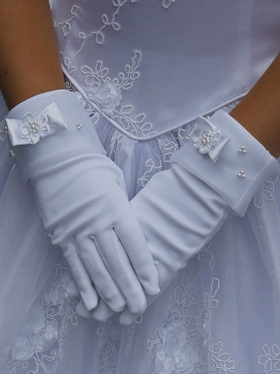 Satin With Organza Gloves