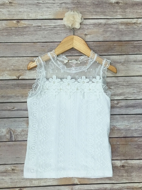 Sleeveless Lace Tank With Flower Applique