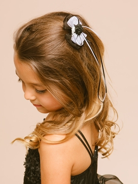 Small Organza Hair-bow With silk Flowers
