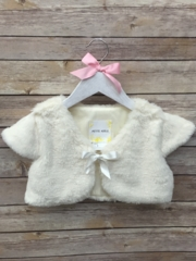 Soft Faux Fur Shrug Bolero With Satin Ribbon