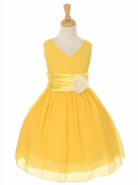Soft  Graduation Dress with Pin-on Flower