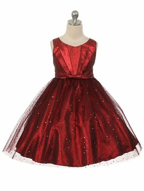 Sparkly Tulle Dress  with Satin Gathered Top