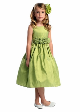 Square Neck Tafetta Flowergirl Dress