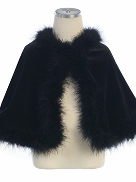 Stretch Velvet Cape with Maribou Trim