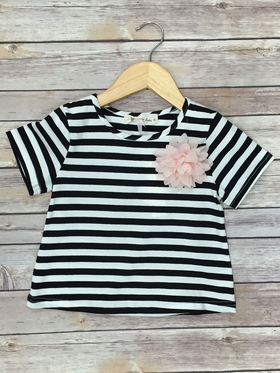 Stripped Tee With Pink Flower