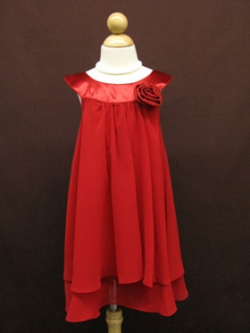 Stunning Red Double Layered Flower Girl Dress