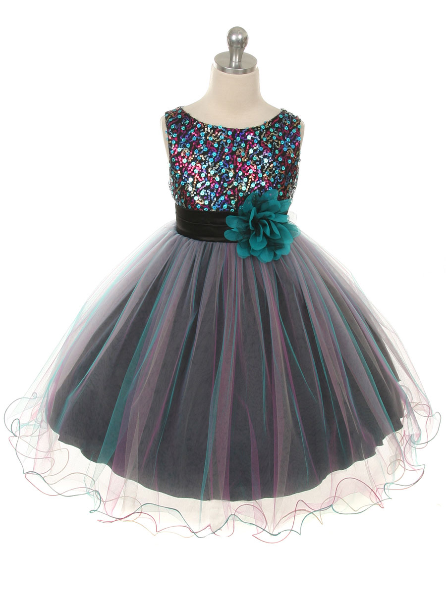 Teal Multi-color Beaded Holiday Dress with Tulle skirt - FLOWER ...
