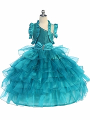 Ruffled Girl's Pageant Dress with Matching Bolero