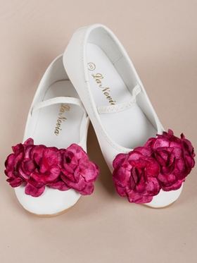 Three Fuchsia Flowers Accented Girl Shoes