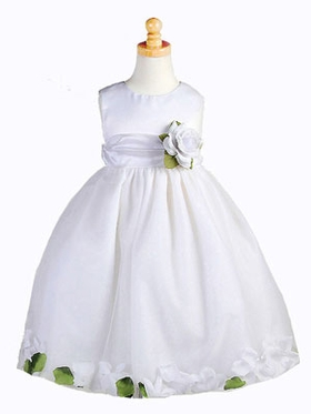 Tulle with Floral Petals Flower Girl Dress