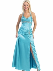 Turquoise Beaded Halter Neck w/Side Slit Long Party Dress
