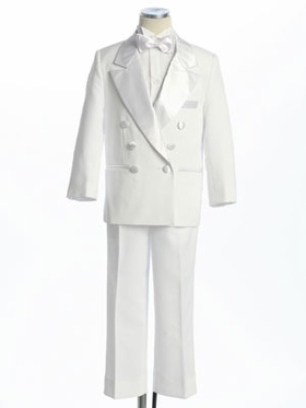 White Double Breasted Boy's Tuxedo without Tail