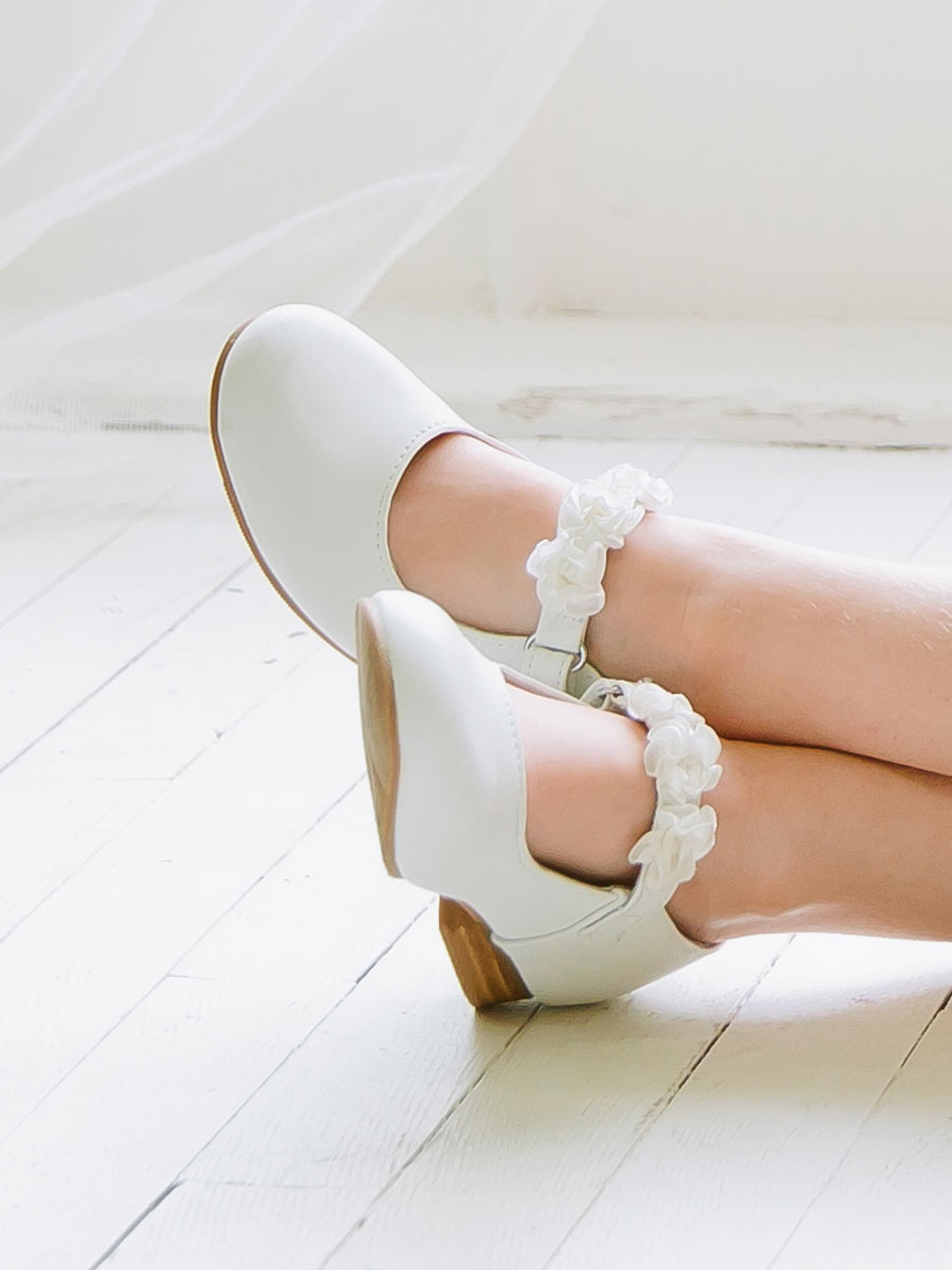 Awesome White Flower Girls Shoes Adornment Wedding And Flowers