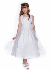 White Gorgeous Satin and Tulle Flower Girl Dress