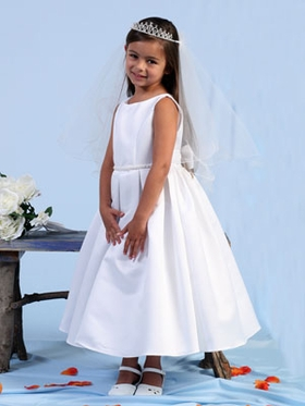 White Pearl Trimed Flower Girl Dress