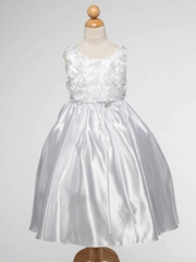 White Satin Flower Girl Dress with 3-D Rosettes