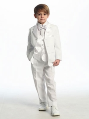 White Single Breasted Tuxedo with Vest