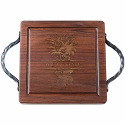 12 inch Square Personalized Black Walnut Cutting Board With Iron Handles