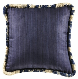 14x14 Colefax Raw Silk Accent Pillow with Graphic Welting