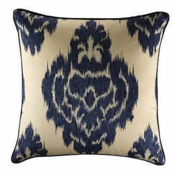 18x18 Colefax Graphic Accent Pillow with Indigo Welting