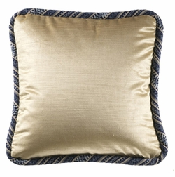 18x18 Colefax Parchment Accent Pillow with Patchwork Welting