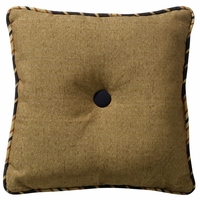 Ashbury Burlap Tufted Accent Pillow With Stripe Piping