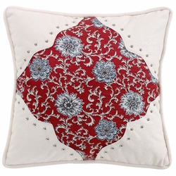 Bandera Floral Pillow With Scalloped Corners